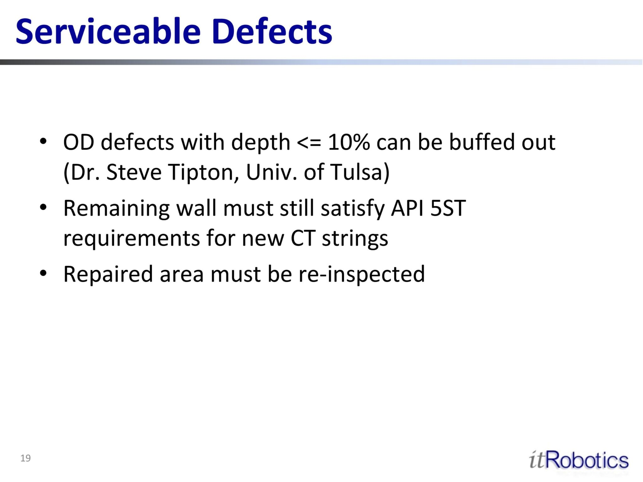 Serviceable Defects
