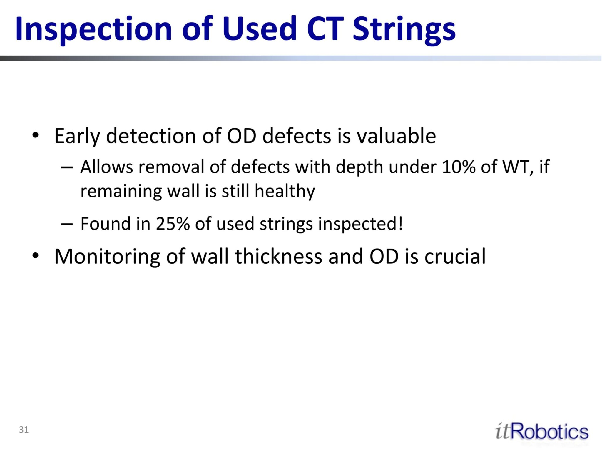 Inspection of Used CT Strings